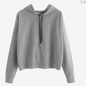 NWOT lightweight gray hoodie with overlap back